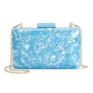 New Sam Edelman Olivia Blue Marble Evening Bag